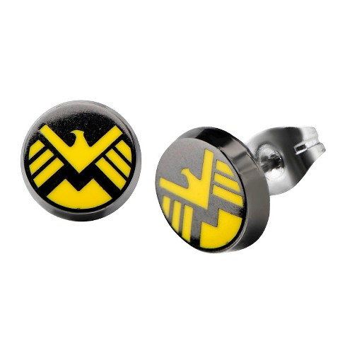 Marvel® Agents of S.H.I.E.L.D Logo Stainless Steel Stud Earrings - Black/Yellow - image 1 of 1