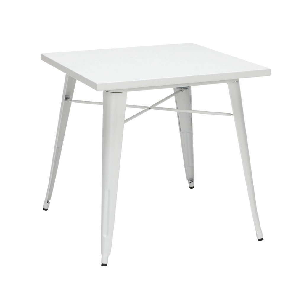 "Image of ""30"""" Industrial Modern Square Galvanized Steel Indoor/Outdoor Table White - OFM"""