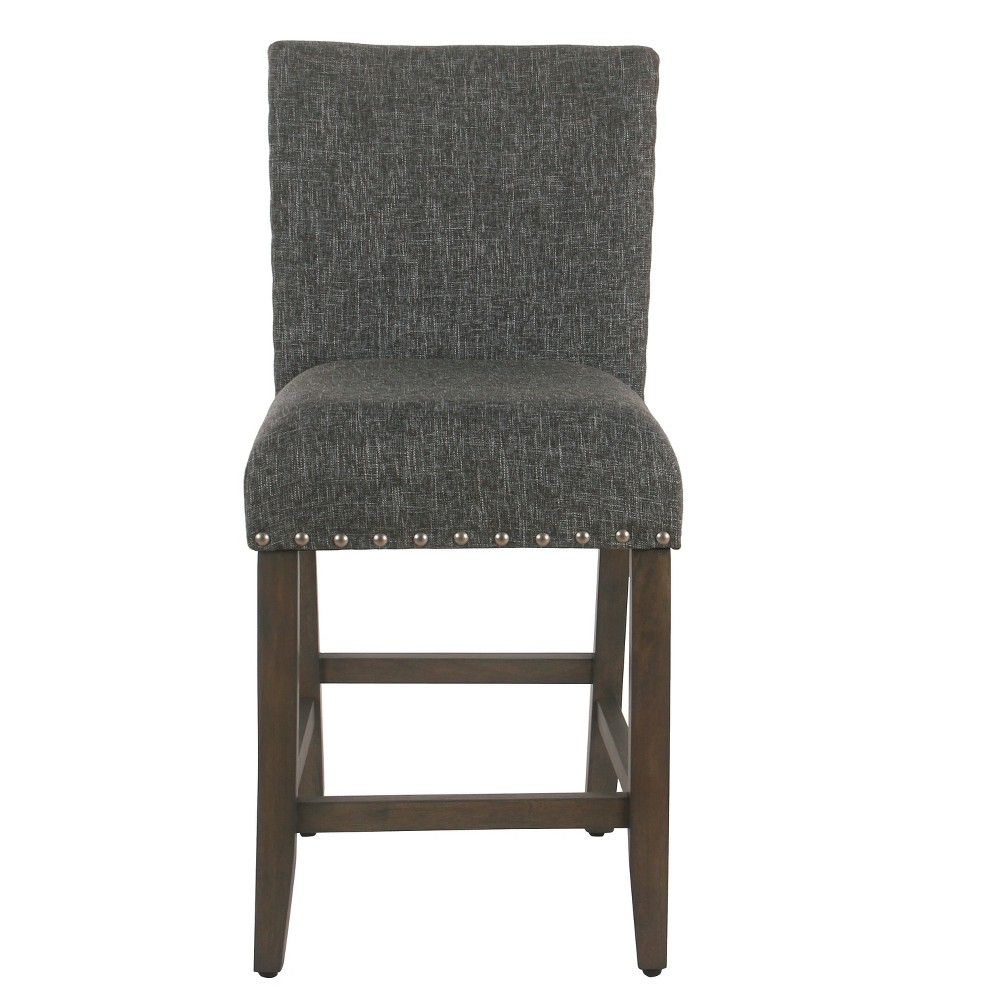 25 Upholstered Counter Stool with Nailheads Slate Gray - Homepop was $129.99 now $97.49 (25.0% off)