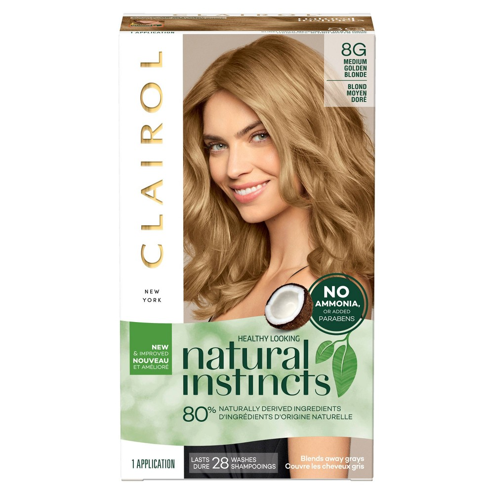 Image of Clairol Natural Instincts Non-Permanent Hair Color - 8G Medium Golden Blonde, Sunflower - 1 Kit, 8G-Medium Golden Yellow
