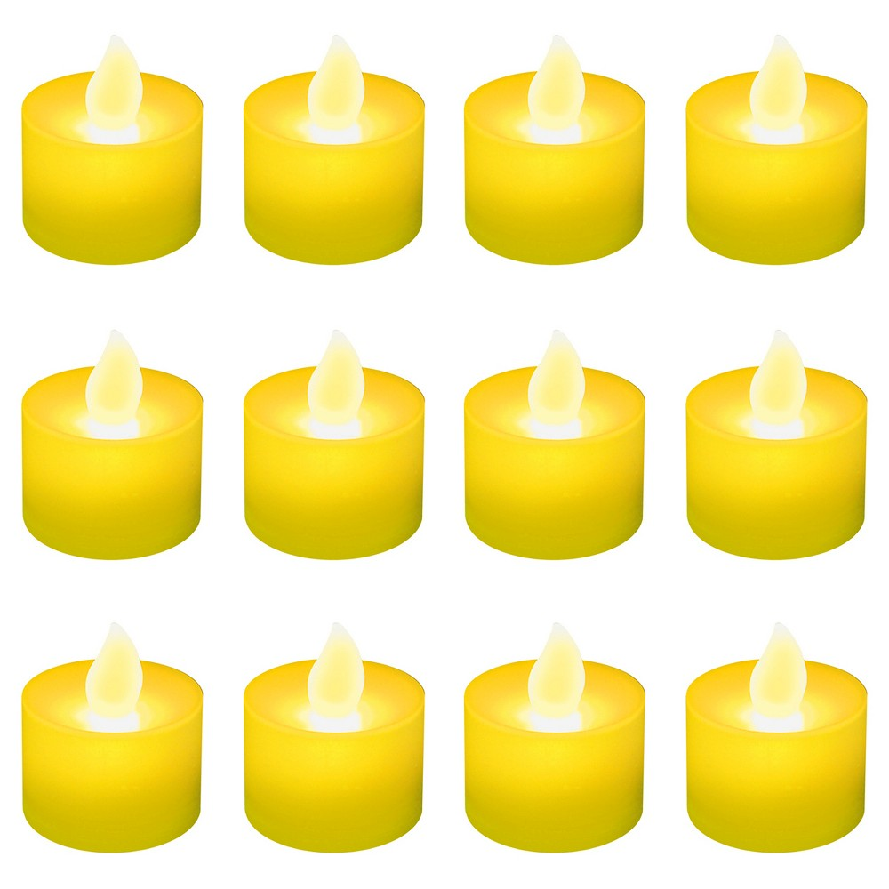 Image of 12ct Battery Operated LED Tea Lights Yellow