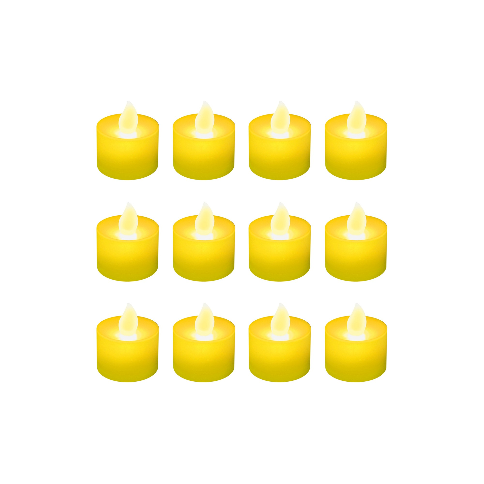 12ct Battery Operated LED Tea Lights Yellow