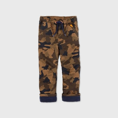 Toddler Boys' Camo Fleece Lined Pull-On Pants - Cat & Jack™ Brown