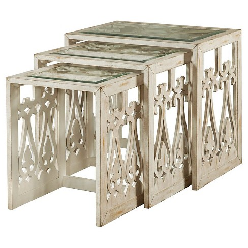 Harmon nesting tables distressed white set of 3 pulaski target about this item watchthetrailerfo