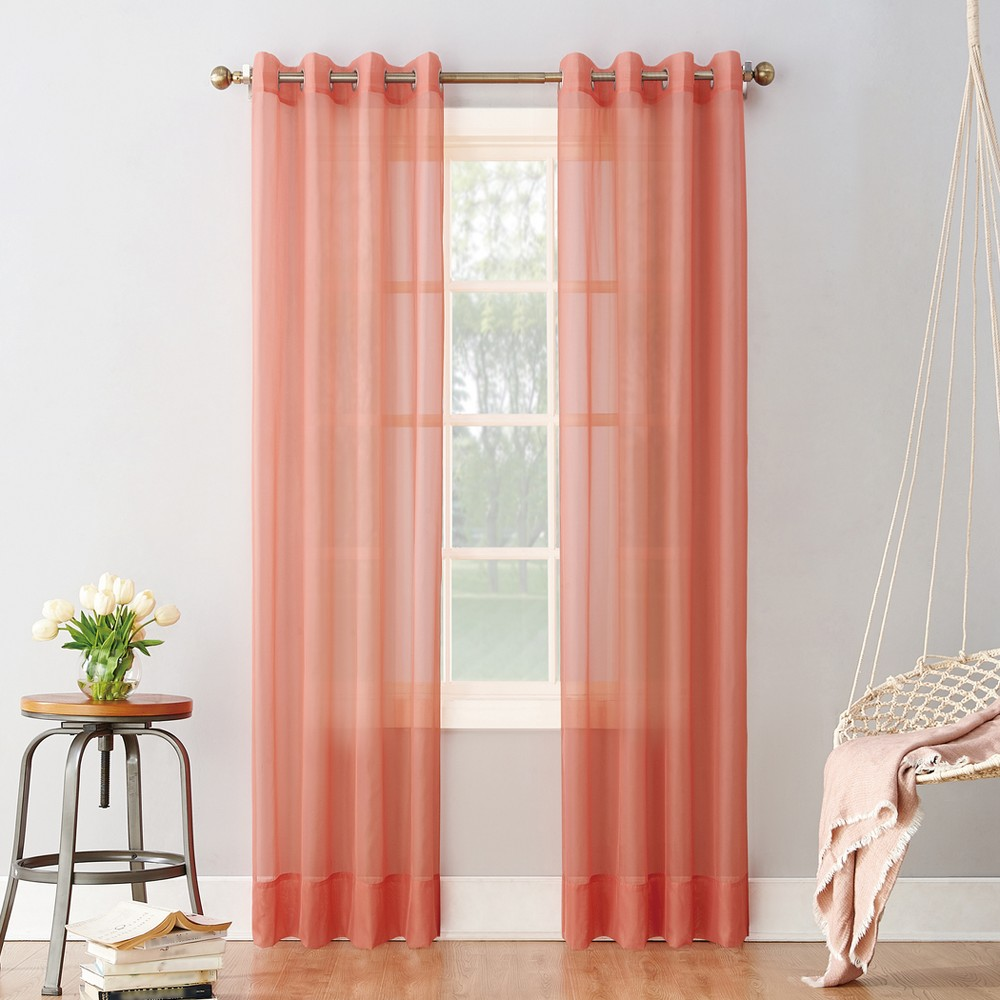 Emily Sheer Voile Grommet Curtain Panel Coral (Pink) 59