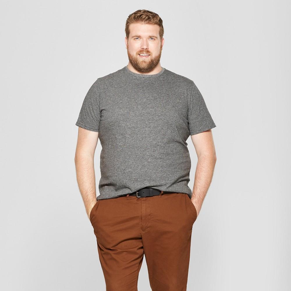 Men's Big & Tall Pinstripe Short Sleeve T-Shirt - Goodfellow & Co Railroad Gray 5XBT