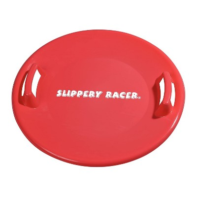Slippery Racer Downhill Pro Adults and Kids Plastic Saucer Disc Snow Sled with Handles, Red