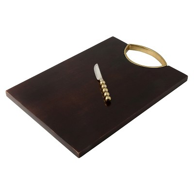 Thirstystone Wood Serving Board with Spreader - Gold