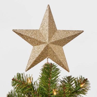 8.5in Unlit Glitter Star Tree Topper Gold - Wondershop™