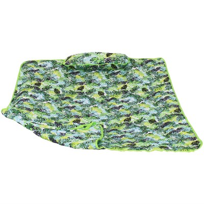 Cotton Quilted Hammock Pad and Pillow - Tropical Greenery - Sunnydaze Decor