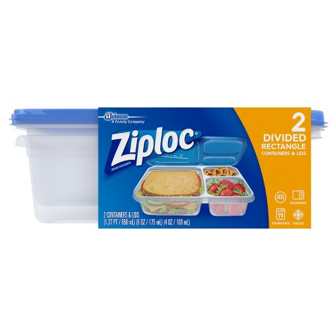 Ziploc Divided Rectangle Containers - 2ct - image 1 of 4