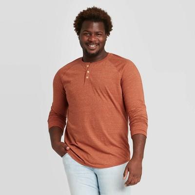 Men's Big & Tall Regular Fit Long Sleeve Button-Down Henley T-Shirt - Goodfellow & Co™