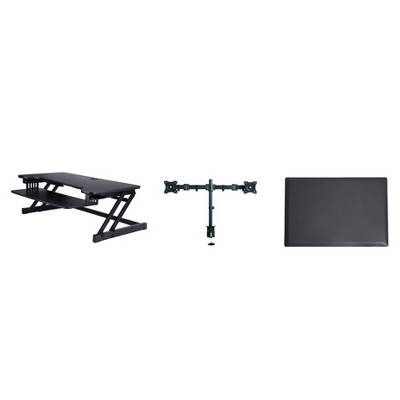 Deluxe Height Adjustable Computer Riser with Mat & Monitor Mount