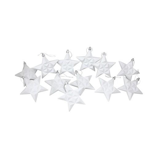 "Northlight 12ct Matte Winter White Glittered Star Shatterproof Christmas Ornaments 5"" - image 1 of 3"