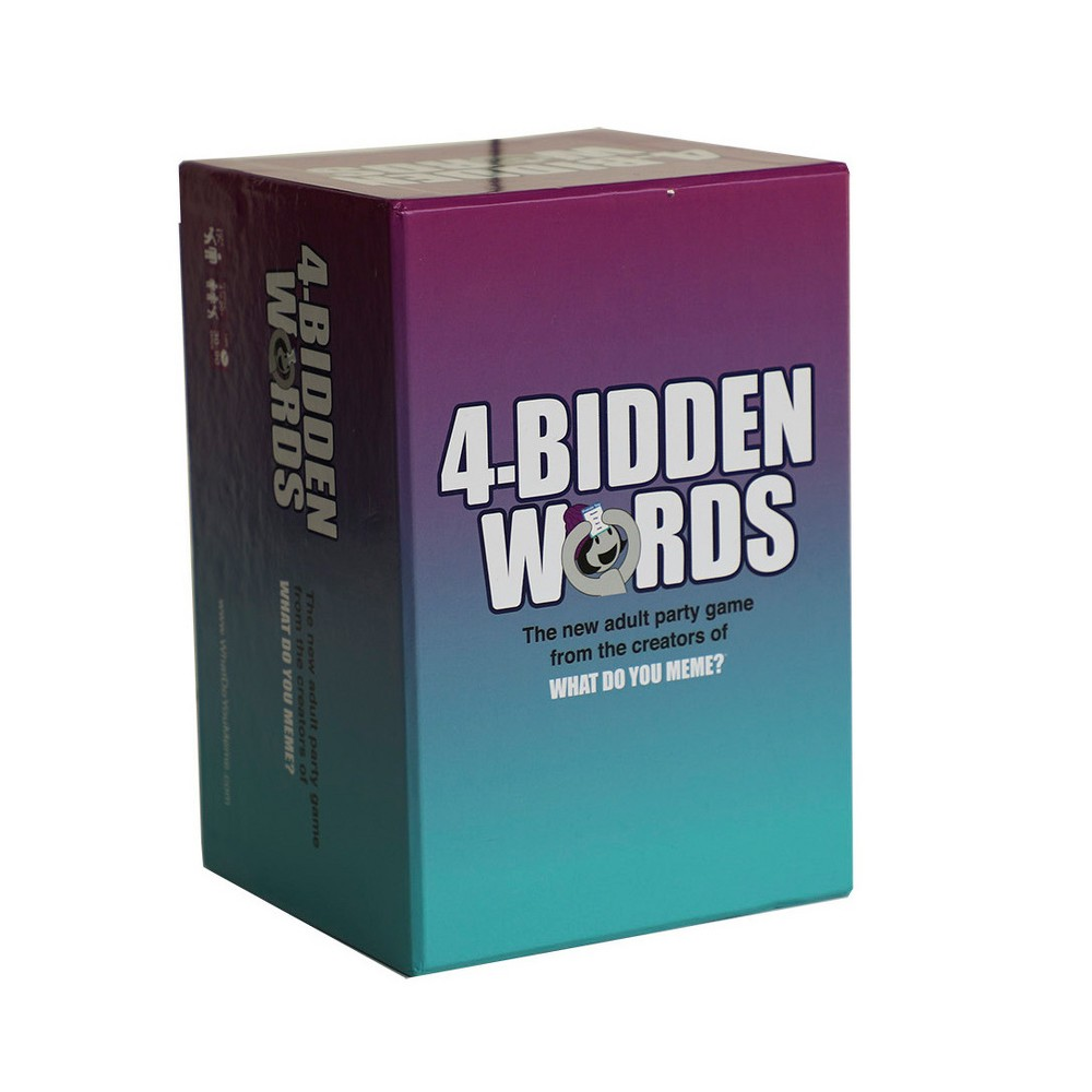 4-Bidden Words by What Do You Meme? Game The creators of What Do You Meme? bring you the latest, greatest, brand new adult party game everyone's talking about! 4-Bidden Words tests your guessing skills as teammates shout clues to help you guess the Buzz Words. Be careful! You can lose points if you say any of the four  4-Bidden  words on the card! Gender: Unisex.