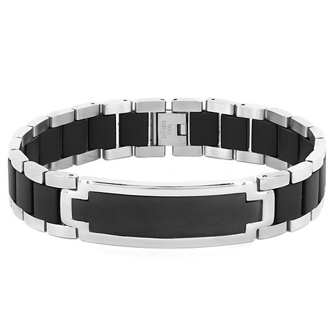 5e551ebff1225 Men's Stainless Steel ID Bracelet with Rubber Inlay - 8.5