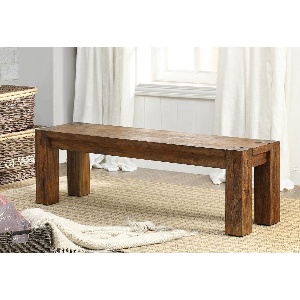 Arsenio Sturdy Wooden Dining Bench Dark Oak - Sun & Pine