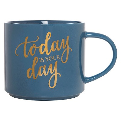 15oz Porcelain Today Is Your Day Stackable Mug Blue/Gold - Threshold™