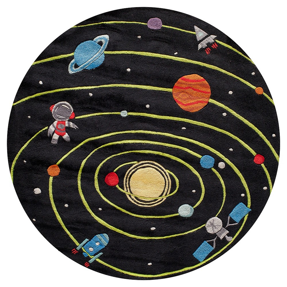 Solar System Accent Rug Round Black (5'x5')