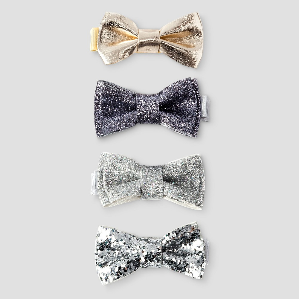 Toddler Girls' 4 Pack Bow Hair Clip Metallic - Cat & Jack Multi-Colored