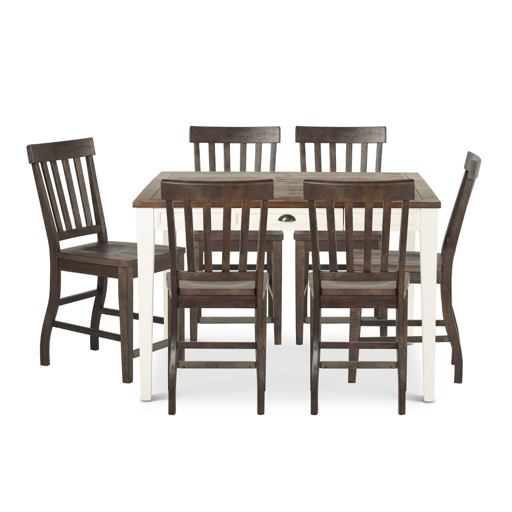 7pc Cayla Counter Height Dining Set White/Brown - Steve Silver