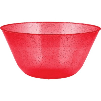 Red Glitter Plastic Bowl Red