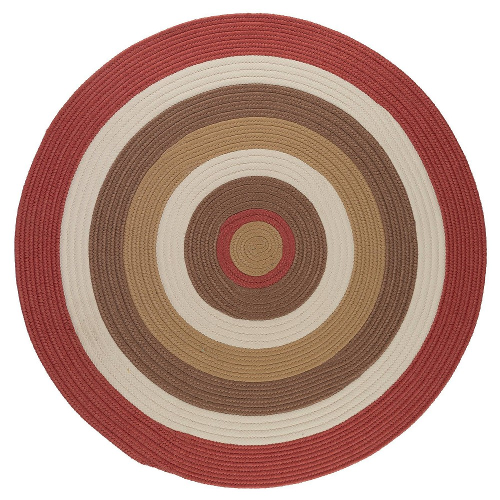 Round Mountain Top Braided Area Rug Red