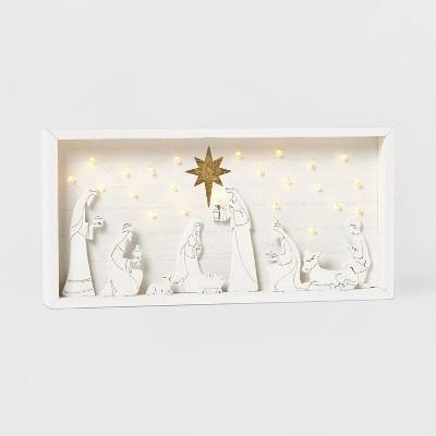 LIT Nativity Shadow Box Scene Decorative Figurine White - Wondershop™