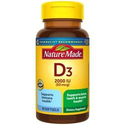 Nature Made Vitamin D3 2000 IU (50 mcg) Softgels - 90ct