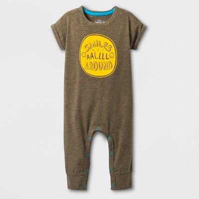 Baby Boys' Short Sleeve Romper - Cat & Jack™ Green 3-6M