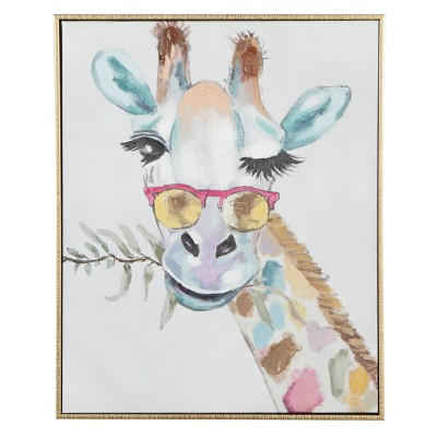 "17"" x 21"" Rectangular Whimsical Giraffe Wall Canvas Art With Gold Wood Frame - Olivia & May"
