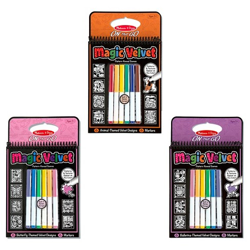 Melissa & Doug® Magic Velvet Marker Coloring Books Set - Animal, Butterfly, Ballerina - image 1 of 1