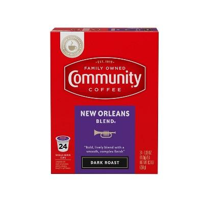 Community Coffee New Orleans Blend Dark Roast Coffee - Single Serve Pods - 24ct
