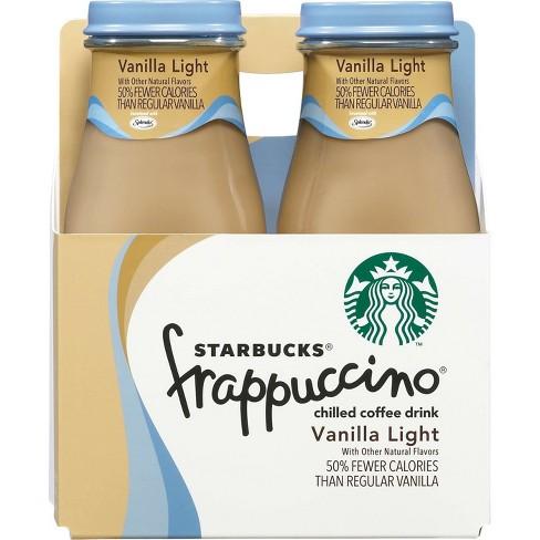 Starbucks Frappuccino Vanilla Light Chilled Coffee Drink 4pk 9 5 Fl Oz Glass Bottles