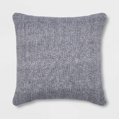 Square Woven Herringbone Pillow Navy - Threshold™