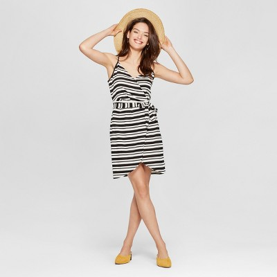 c4d07c6732e Womens Striped Wrap Front Tank Dress – Universal Thread™ Black White ...