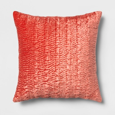 Hand Quilted Velvet Oversize Square Throw Pillow Orange - Opalhouse™