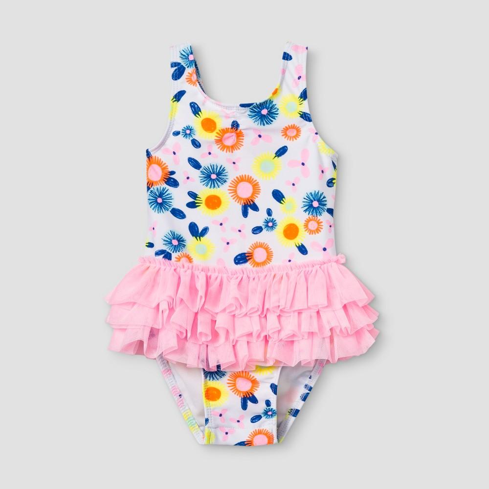 96aa15e9e95 Baby Girls Tutu One Piece Swimsuit Cat Jack Pink 12M White