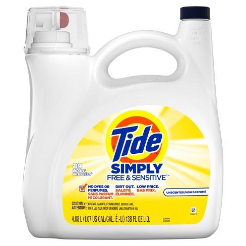 Tide Simply HEC Free & Sensitive Liquid Laundry Detergent - 138 fl oz