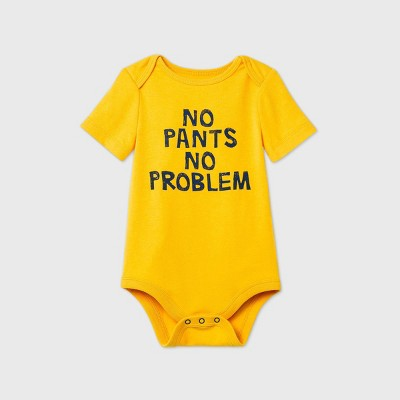 Baby Boys' 'No Pants No Problem' Short Sleeve Bodysuit - Cat & Jack™ Yellow 0-3M