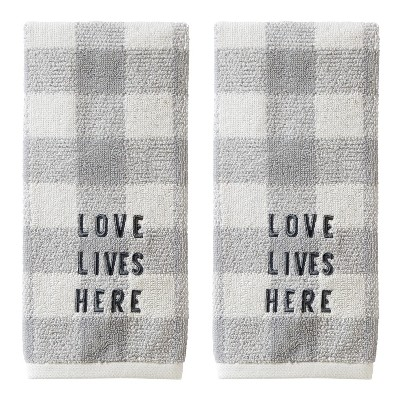 2pc Love Lives Here Hand Towel Set Gray - SKL Home