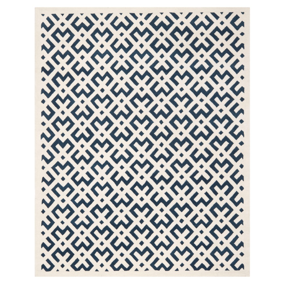 Dark Blue/Ivory Geometric Tufted Area Rug 8'X10' - Safavieh