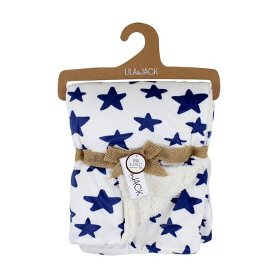 Lila and Jack Baby Blanket Navy Star Printed Mink with Natural Sherpa Backing Kids Throw