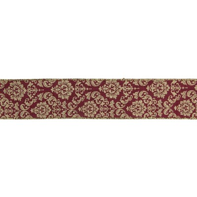 "Northlight Burgundy Red and Gold Damask Christmas Wired Craft Ribbon 2.5"" x 16 Yards"