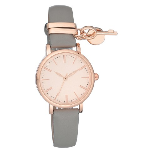 Women's Rosegold Charm Watch - A New Day™ Gray - image 1 of 1