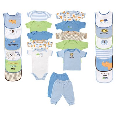 Luvable Friends Baby Boys' 24 Piece Deluxe Gift Set - Safari