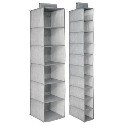 mDesign Fabric Over Rod Hanging Closet Storage Organizers, Set of 2 - Gray