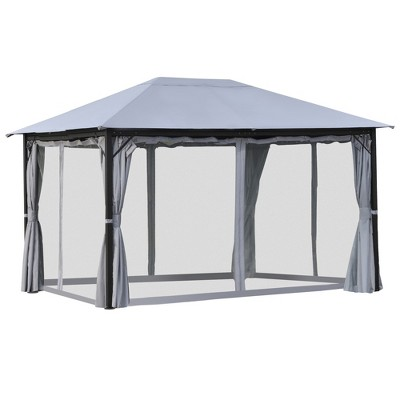 Outsunny 13' x 10' Outdoor Patio Gazebo Soft Top Canopy with PA Coated Polyester Roof, Steel/Aluminum Frame, Curtains & Netting Sidewalls