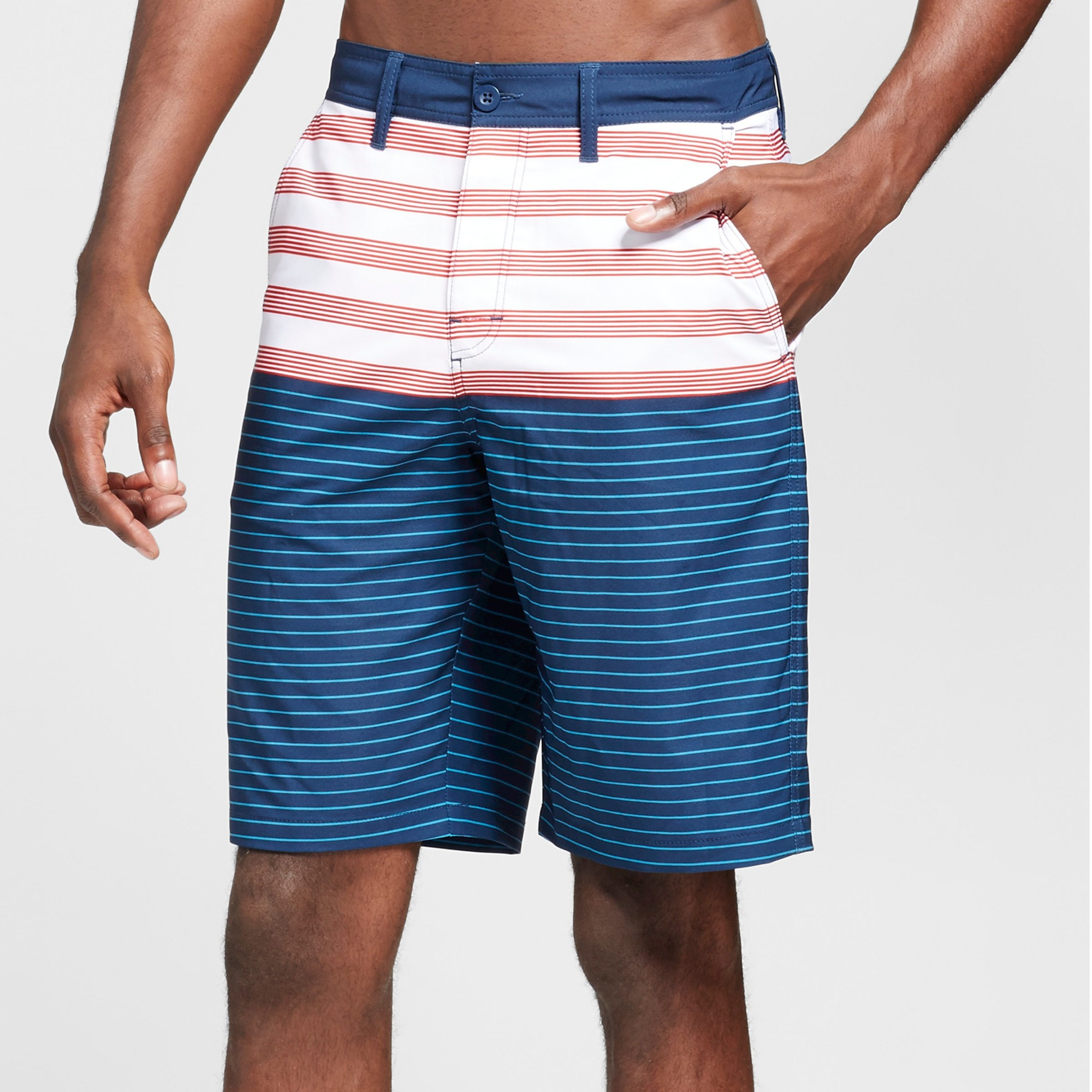 Men's 10 Striped Hybrid Shorts Blue 38 - Trinity Collective
