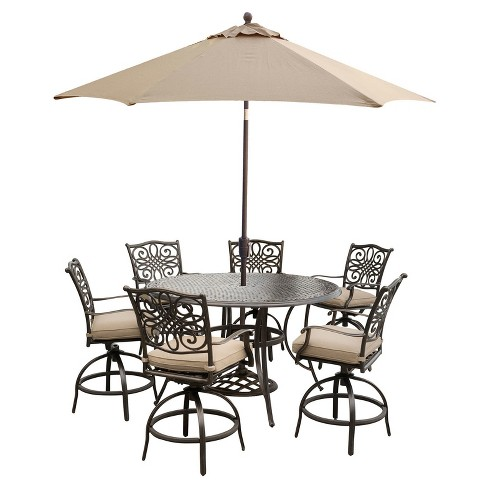 Traditions 7pc Round Metal Patio High Dining Set W 9 Table Umbrella Stand Tan Hanover Target